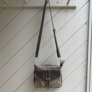 ROOTS Brown/Grey Genuine Leather Tribe Saddle Bag